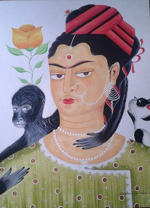 Kali-Kahlo 4 by Bhaskar Chitrakar, Folk Painting, Natural colours on paper, Brown color