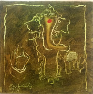 Untitled by N S Manohar, Expressionism Painting, Oil on Canvas, Brown color