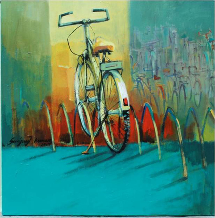 Untitled by Sanjay Kumar, Expressionism Painting, Acrylic on Canvas, Green color