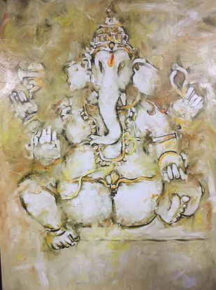 Untitled by N S Manohar, Expressionism Painting, Oil on Canvas, Beige color