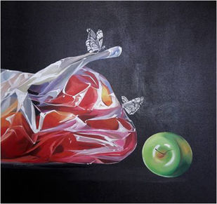 Untitled by Suchismita Sahoo, Photorealism Painting, Acrylic on Canvas, Blue color