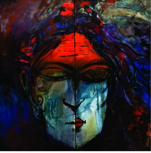 Man in God by Manoj Mauryaa, Expressionism Painting, Acrylic on Canvas, Blue color