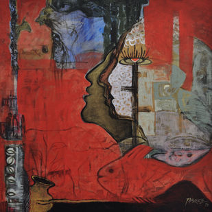 Village Mystry III by Tabrez Hassan Ansari, Expressionism Painting, Acrylic on Canvas, Brown color