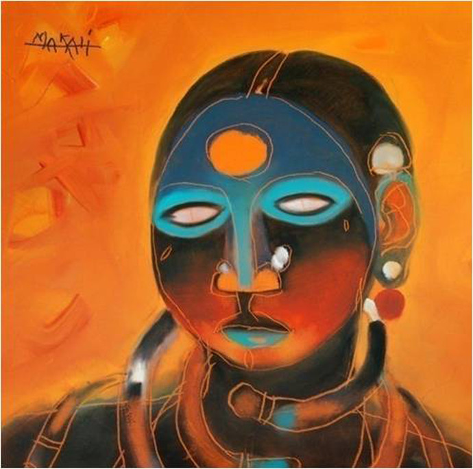 Untitled by K K Makali, Traditional Painting, Acrylic on Canvas, Orange color
