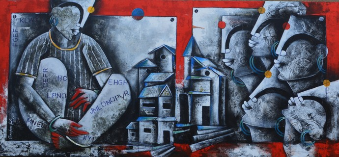 bonding of eternal love by anupam pal, Expressionism Painting, Mixed Media on Canvas, Blue color
