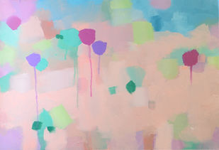 Tulip-2 by Mitisha, Abstract Painting, Acrylic on Canvas, Pink color