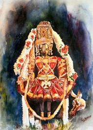 Udupi Shri Krishna Digital Print by Lasya Upadhyaya,Impressionism