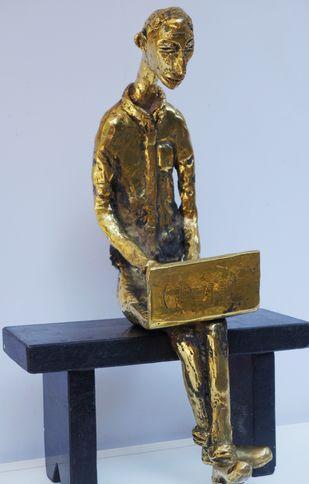 The laptopboy by Usha Ramachandran, Art Deco Sculpture | 3D, Bronze, Cyan color