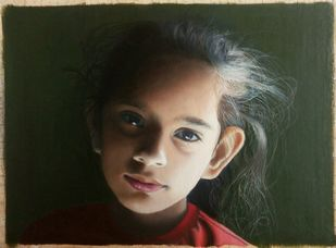 Gauri by vikas, Realism Painting, Oil on Canvas, Green color