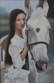 Beautiful Girl with a horse by vikas, Realism Painting, Oil on Canvas, Gray color