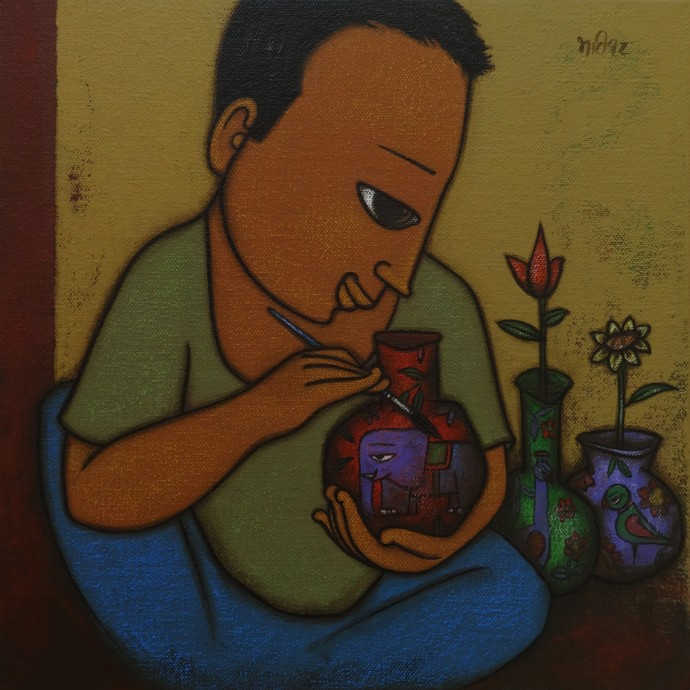 ARTIST by H S BHATI, Expressionism Painting, Acrylic on Canvas, Brown color
