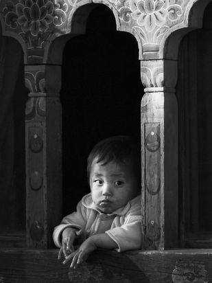 Bhutanese Boy by Shuchi Pandya, Image Photography, Digital Print on Paper, Gray color