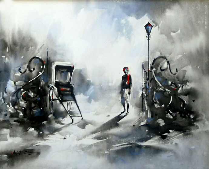 Riksha puller by Ashif Hossain, Realism Painting, Acrylic on Canvas, Gray color