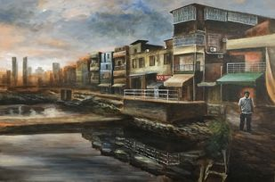 Dawn - The Start of Life by SOURAV SAHA, Realism Painting, Acrylic on Canvas, Brown color