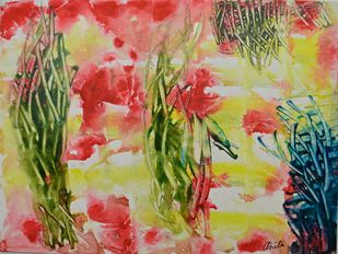 Talks To Heaven 1 by Anita Tiwary, Abstract Painting, Acrylic on Paper, Beige color
