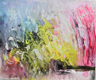 Talks To Heaven 2 by Anita Tiwary, Abstract Painting, Acrylic on Paper, Beige color