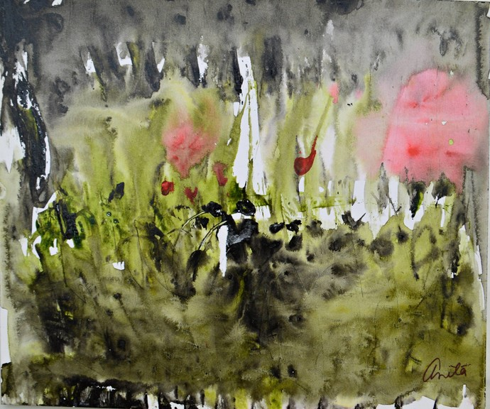 Talks To Heaven 3 by Anita Tiwary, Abstract Painting, Acrylic on Paper, Green color