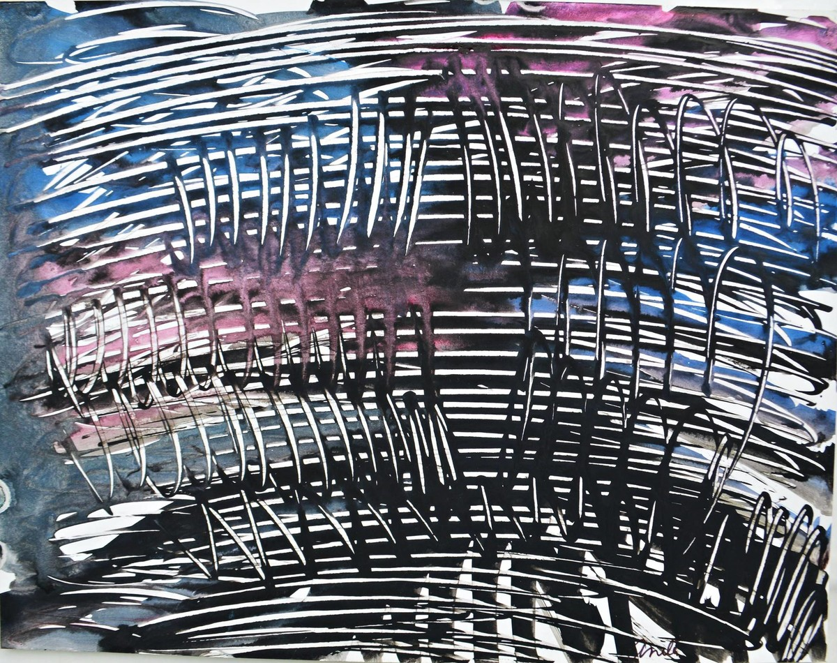 Talks To Heaven 4 by Anita Tiwary, Abstract Painting, Acrylic on Paper, Gray color