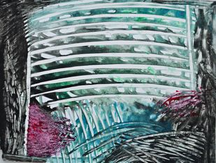 Talks To Heaven 6 by Anita Tiwary, Abstract Painting, Acrylic on Paper, Green color