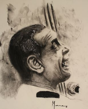 Emotion through Music by MANAS DIXIT, Illustration Drawing, Charcoal on Paper, Beige color