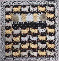 Cows by Unknown Artist, Folk Painting, Stone Colour on Cloth, Gray color