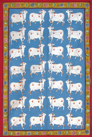 Cows by Unknown Artist, Folk Painting, Stone Colour on Cloth, Cyan color