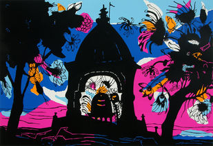 Banaras in Pink by Manu Parekh, Expressionism Printmaking, Serigraph on Paper, Blue color