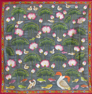 kamal Talai by Unknown Artist, Folk Painting, Stone Colour on Cloth, Brown color