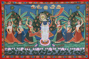 Sharad Purnima by Unknown Artist, Folk Painting, Stone Colour on Cloth, Green color