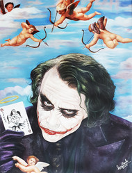 Devil's Cupid by Sanuj Birla, Pop Art Painting, Oil on Canvas, Cyan color