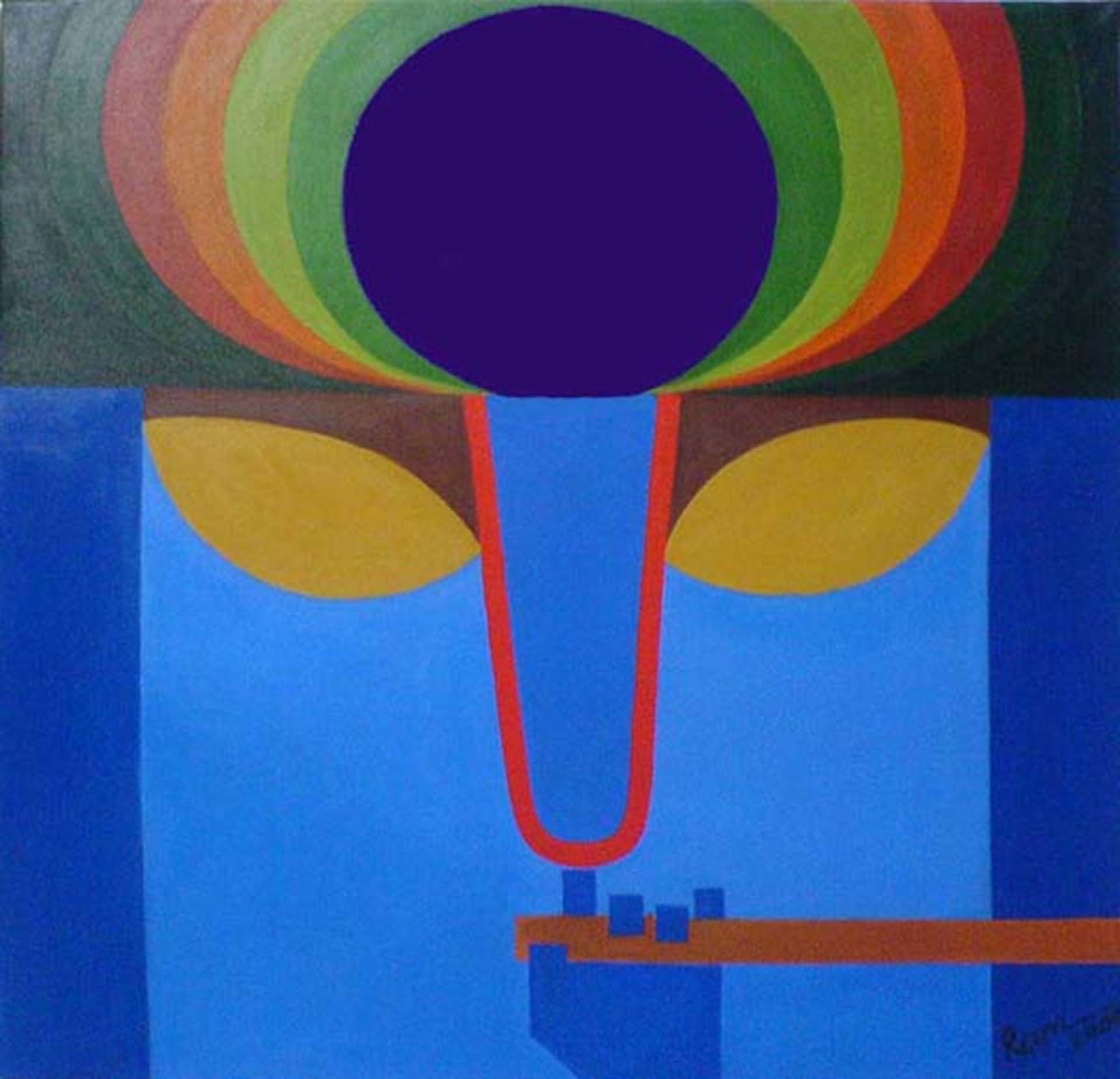 Untitled by Ram Rokade, Geometrical Painting, Acrylic on Canvas, Blue color