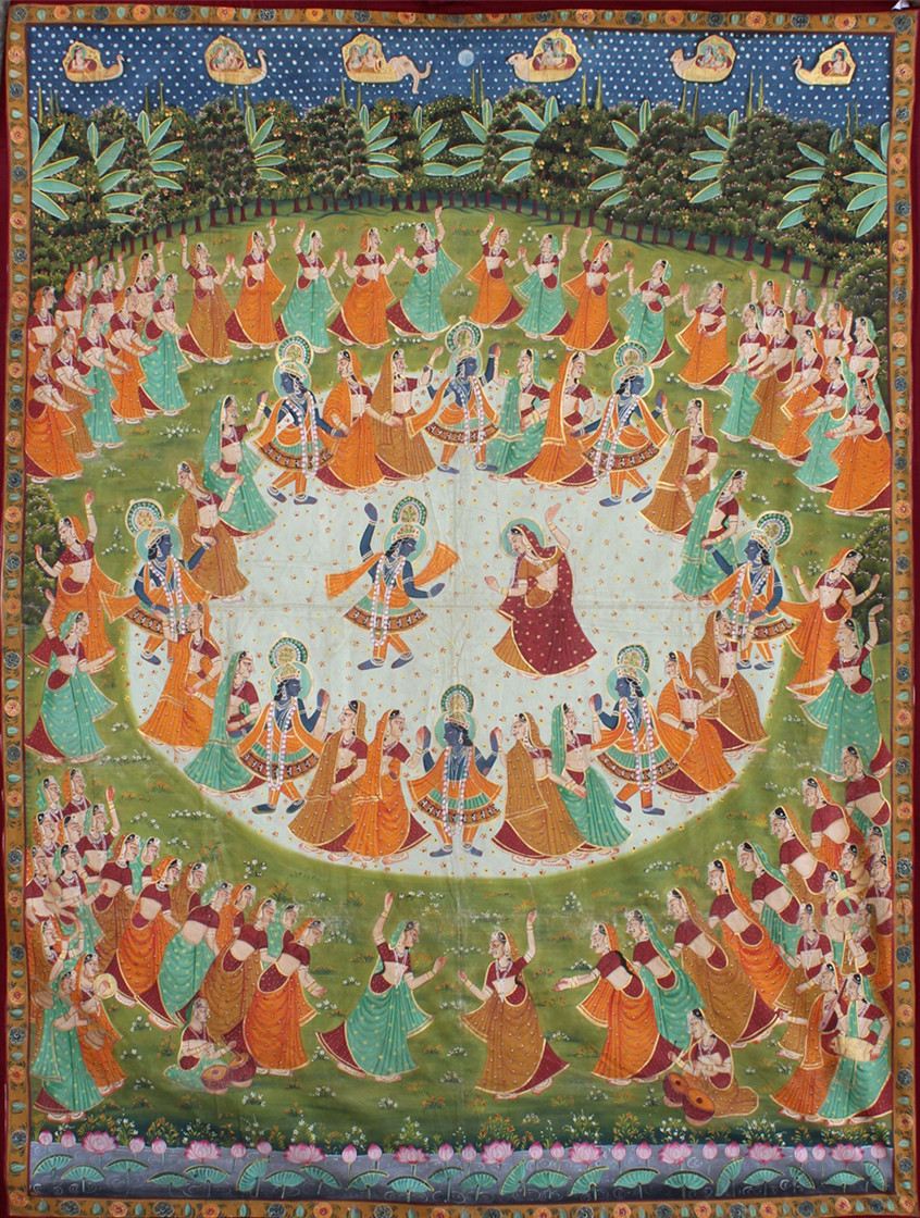 Maha Raas by Unknown Artist, Folk Painting, Stone Colour on Cloth, Brown color