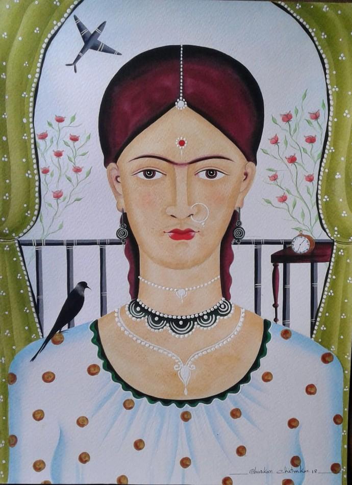 Kali-Kahlo 3 by Bhaskar Chitrakar, Folk Painting, Natural colours on paper, Brown color