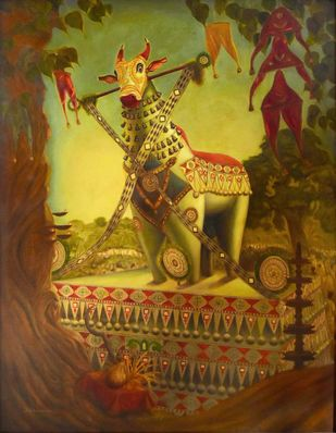 KETTUKALA (Decorated Ox) by R Sukumaran, Traditional Painting, Oil on Canvas, Brown color