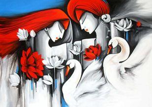 love by pradeesh k raman, Decorative Painting, Acrylic on Canvas, Gray color