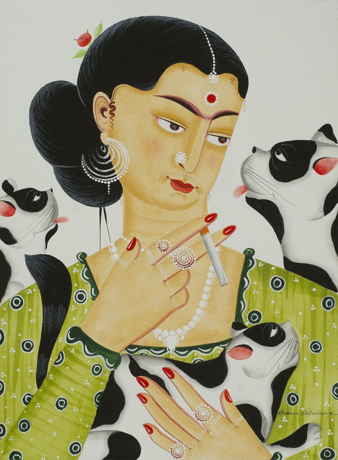 Kali-Kahlo 5 by Bhaskar Chitrakar, Folk Painting, Natural colours on paper, Beige color