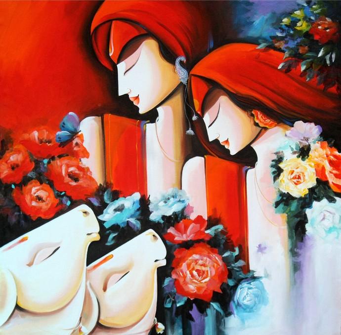 Peaceful Love by pradeesh k raman, Decorative Painting, Acrylic on Canvas, Brown color