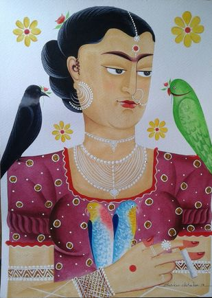 Kali-Kahlo 6 by Bhaskar Chitrakar, Folk Painting, Natural colours on paper, Brown color