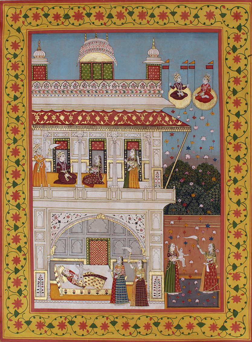 Janmotsav by Unknown Artist, Folk Painting, Stone Colour on Cloth, Brown color
