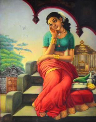 BIRD IN THE GOLDEN CAGE by R Sukumaran, Traditional Painting, Oil on Canvas, Brown color
