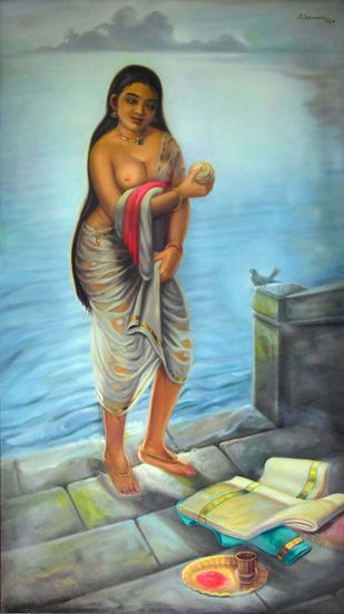 BATHING GHAT -2 by R Sukumaran, Expressionism Painting, Oil on Canvas, Cyan color