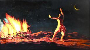AGNI (Fire) by R Sukumaran, Traditional Painting, Oil on Canvas, Gray color