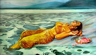 BATHING GHAT -3 by R Sukumaran, Expressionism Painting, Oil on Canvas, Green color