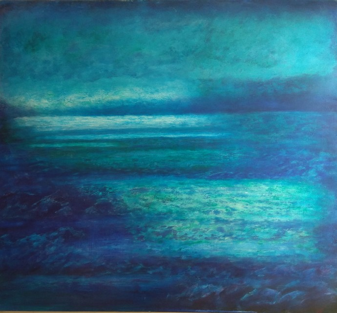 blue water scape by P. Saraswati, Abstract Painting, Acrylic on Canvas, Blue color