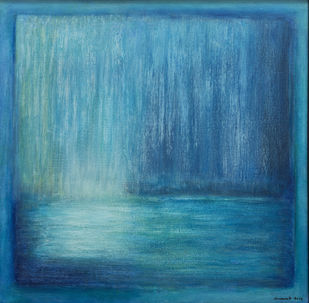 blue abstract by P. Saraswati, Abstract Painting, Acrylic on Canvas, Blue color