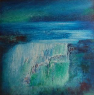 blue scape by P. Saraswati, Abstract Painting, Acrylic on Canvas, Blue color