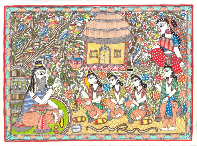 An Epic Of Thousand Lines... Madhubani's Ramayana by Unknown Artist, Folk Painting, Acrylic & Ink on Paper, Beige color