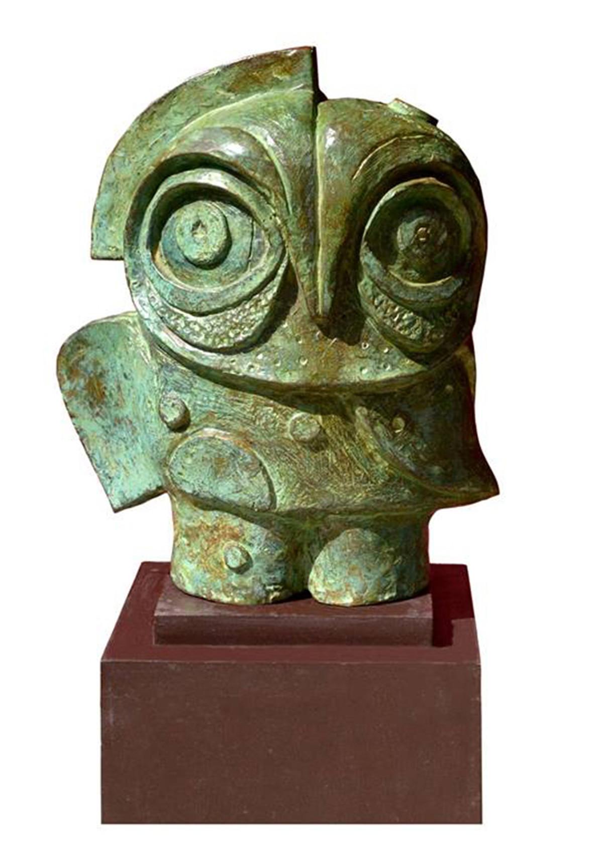 owl 06 by Atish Mukherjee, Art Deco Sculpture | 3D, Bronze, White color