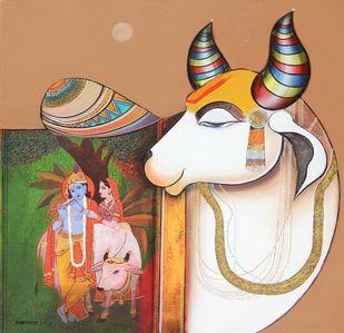 Kamdhenu by Ashok Rathod, Decorative Painting, Acrylic on Canvas, Brown color