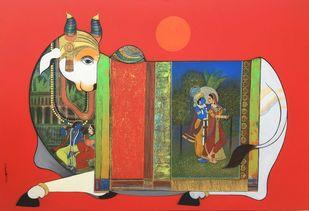 Kamdhenu 2 by Ashok Rathod, Decorative Painting, Acrylic on Canvas, Red color